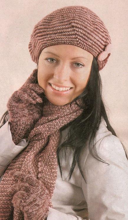 Меланжевый комплект. Берет, шарф спицами.