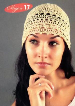 Ажурная летняя шапочка крючком.