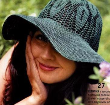Вязание крючком.  Раздел.  Зеленая шляпа с полями Размер шапки: 55-57.  Для вязания шапки вам будет нужно...