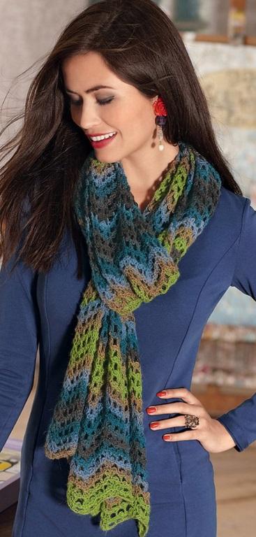 вязание шарфа бриошь