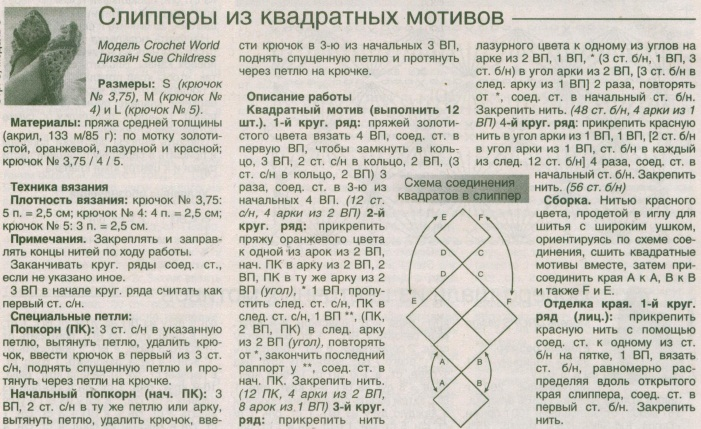 Схема вязания носков из квадратов 65