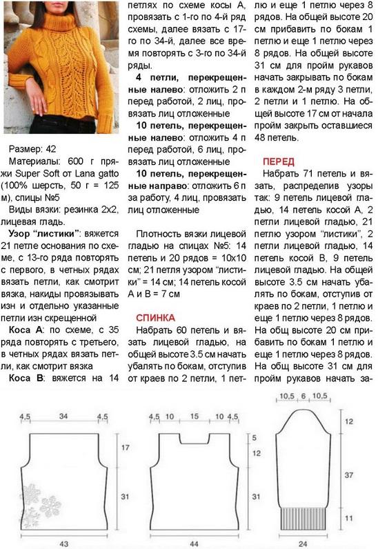 Схема вязания спицами женского свитера