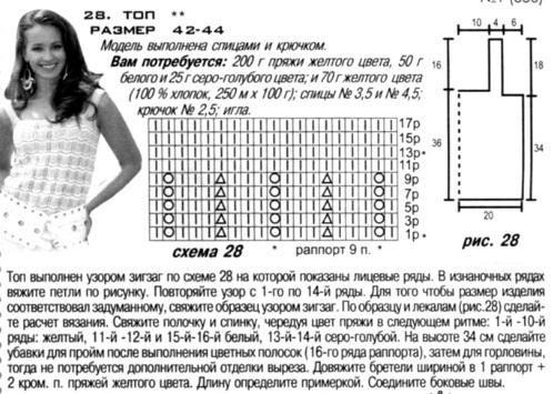 Схема вязания топики спицами