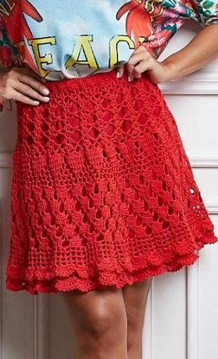 Красная юбка крючком