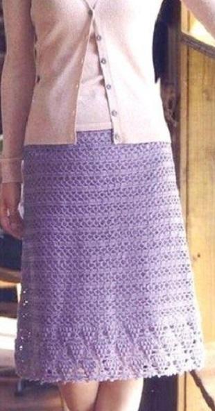 Сиреневая юбка крючком