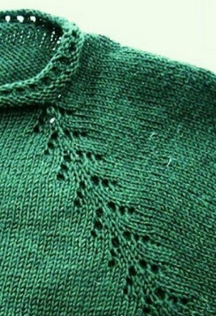 Вязание реглана Елочка спицами