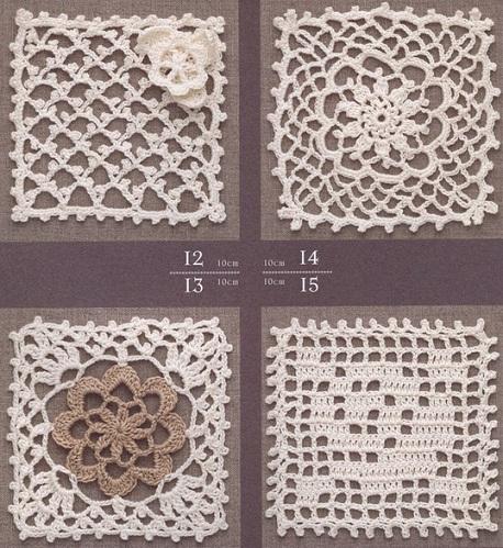 Четыре квадратных мотива, связанных крючком с цветочным узором.  Схемы вязания квадратных мотивов крючком.