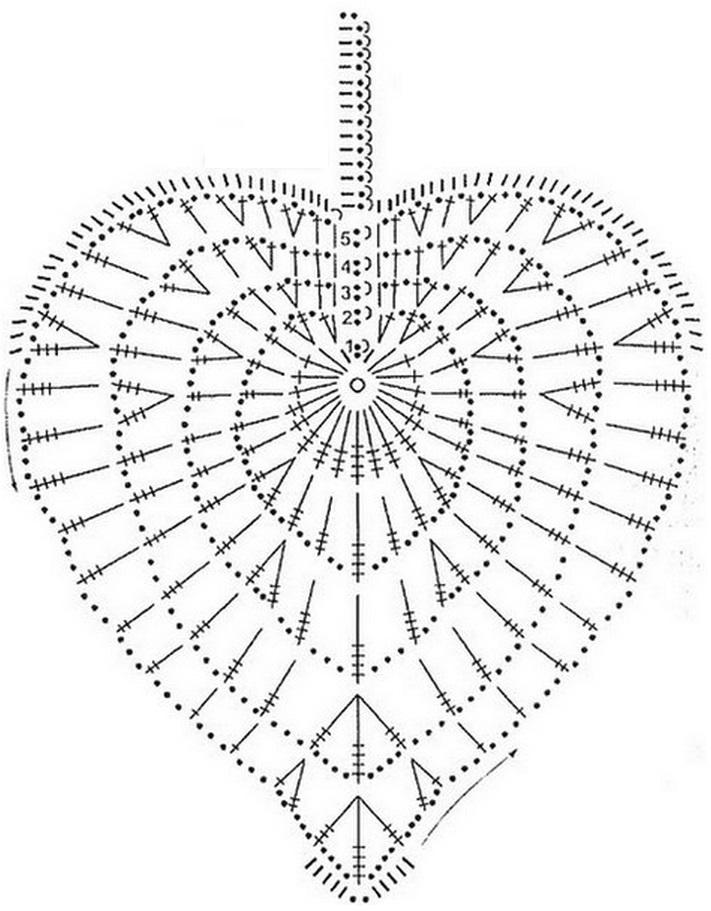 Схема вязания листа крючком