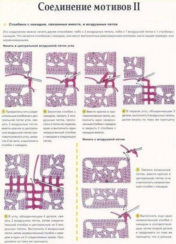 Вязание крючком.соединение мотивов