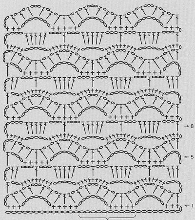 Показать схемы ажурных узоров для вязания крючком.