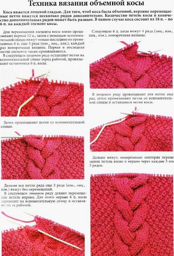Объёмные схемы вязания спицами