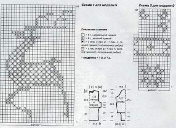 Новогодняя схема вязания на спицах