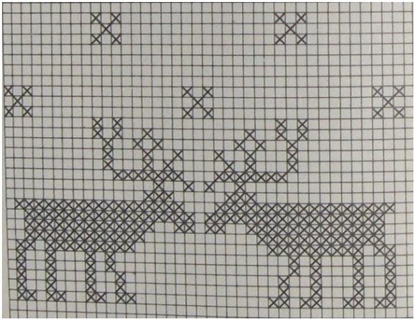 Вязание спицами узоров олени