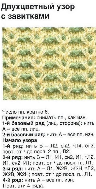 Двухцветные узоры по вязанию спицами