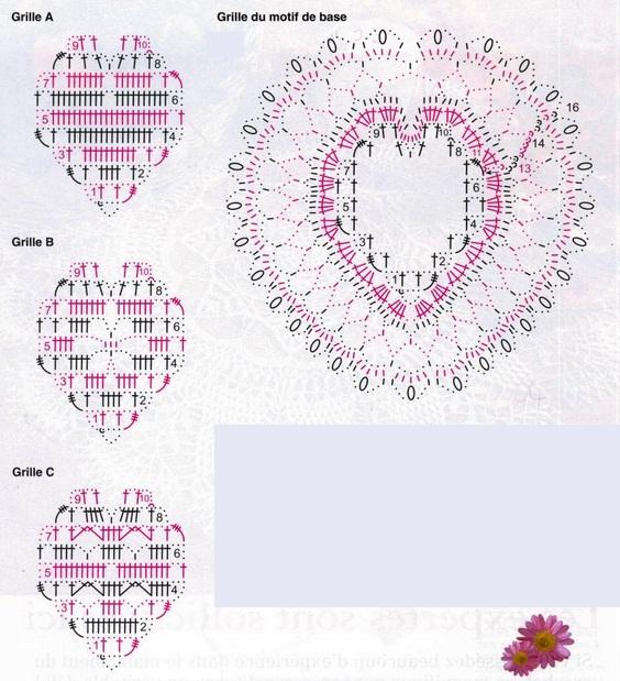 Схемы вязание крючком сердечки - Element-Auto.