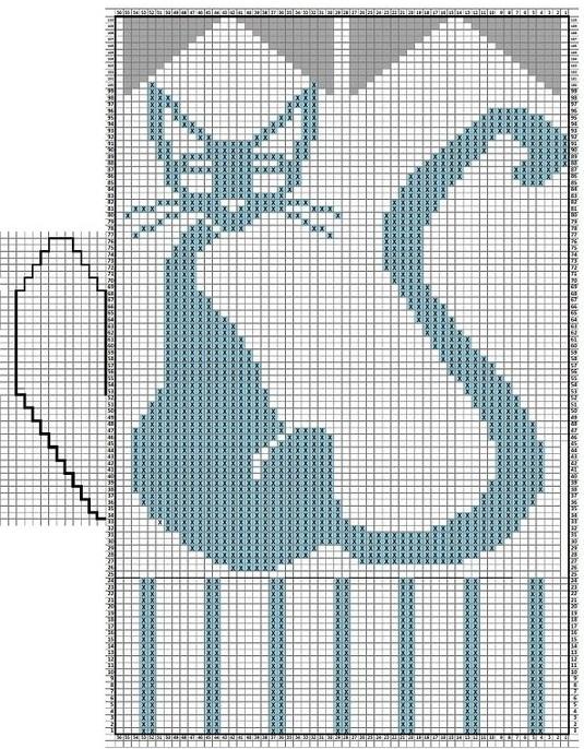 """Узор  """"Кошечки """" для варежек связанных спицами - оригинально и красиво для взрослых и детей."""