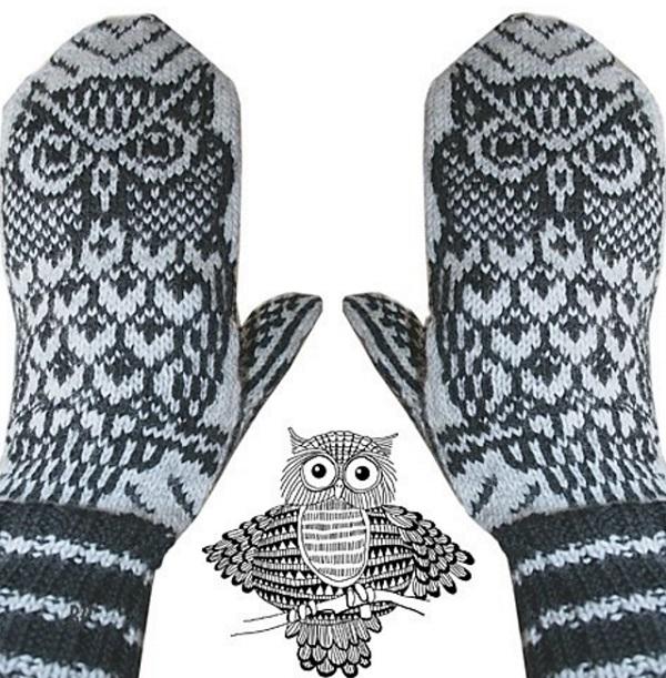 Вязание варежек с орнаментом сова