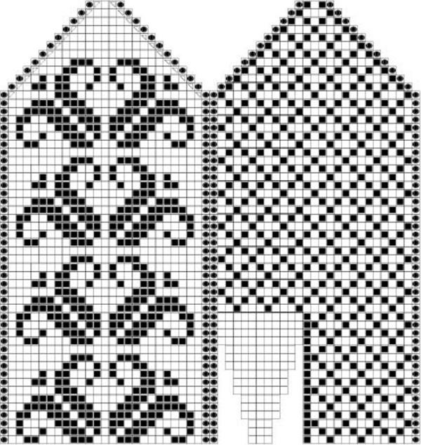 Узор орнамент для варежек спицами схемы