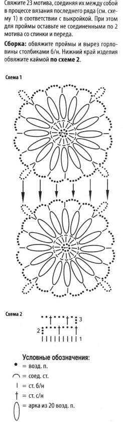 вязания жилетов крючком.  Черный жилет из мотивов и жилет декорированный белым цветком связаны из смесовой пряжи.Схема.