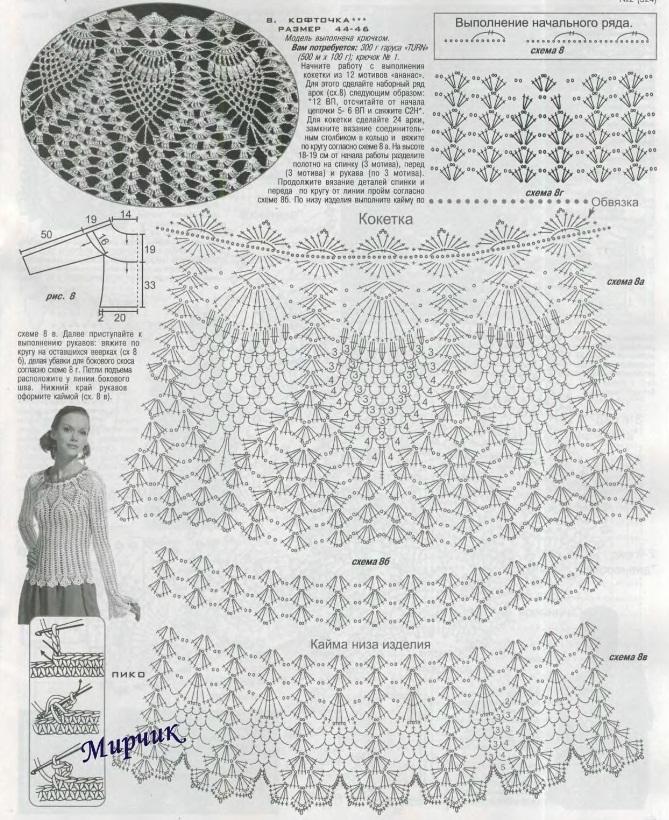 Я не помню точно откуда, но уверена что и, Самое инетересное о Вязание крючком узор ананас схемы