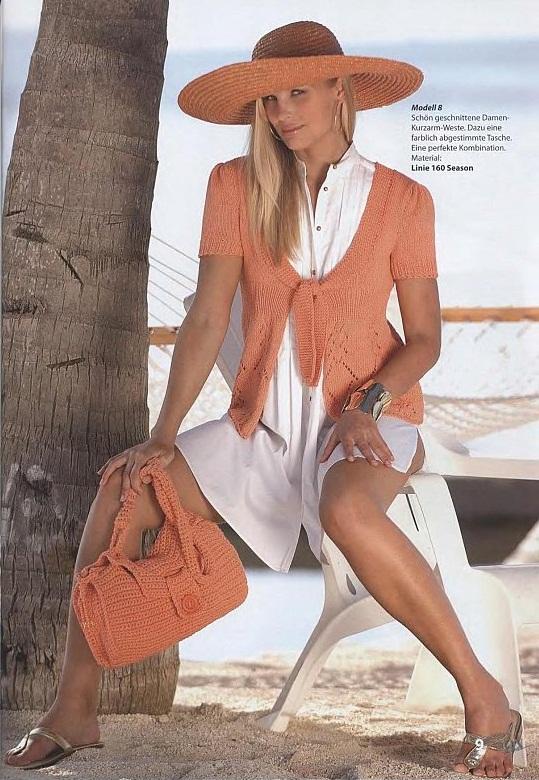 Жакет спицами и сумка крючком.