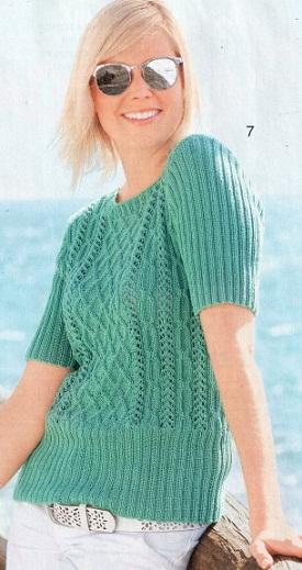 Пуловер связан спицами 2,5 и 3. Пряжа 100% хлопок.Схема. вязания пуловера спицами.  Узорчатый пуловер (вязание спицы) .