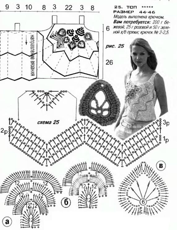 вязание крючком топов и туник для девочек 6-7лет